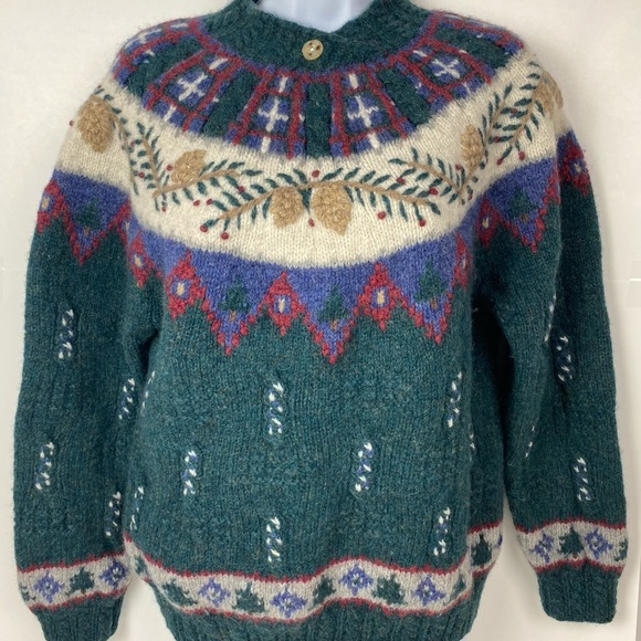 Talbots Petites PL Wool Sweater Hand Knitted Fuzzy